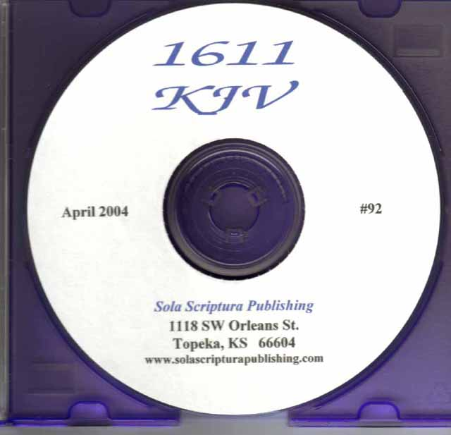 A Photographic Reproduction of the 1611 KJV (CD-ROM)